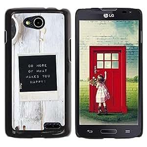 Be Good Phone Accessory // Dura Cáscara cubierta Protectora Caso Carcasa Funda de Protección para LG OPTIMUS L90 / D415 // White Black Coffee Inspirational Message