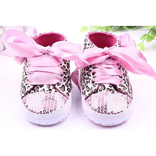 Baby Mädchen Paillette Leopard Schnüren Blume weiche Sohle Sport Sneaker Krippe Schuhe Pink