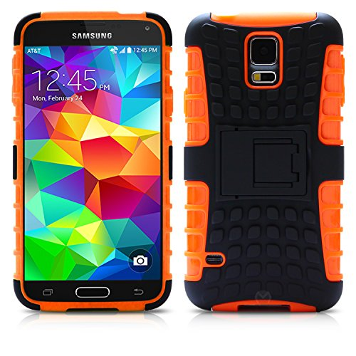 Galaxy S5 Case, MagicMobile Hybrid Armor Heavy Duty Shockproof Impact Resistant Dual Hard Black Plastic Layer and Orange Flexible TPU Gel Skin Defender Cover with Kickstand [ Compatible with Samsung Galaxy S5 / I9600 / SV (2014) ]