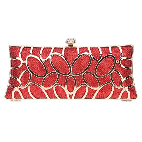Baguette Handbag Bag - Fawziya O-shape Metal Baguette Style Ladies Clutch Bag Evening Party Bag - Red