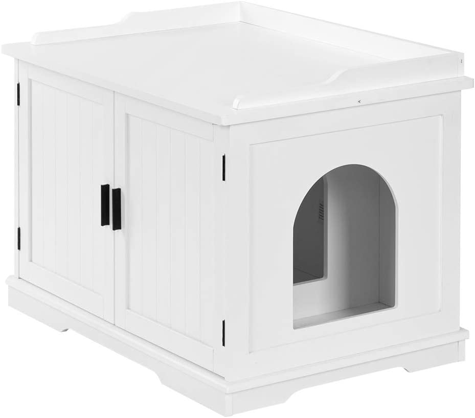 Bonnlo Nightstand Cat House w/Pet Mat, Cat Washroom Storage Bench, Cat Litter Box Enclosure Cabinet, Litter Box Cover with Sturdy Wooden Structure, Indoor Storage Bench Furniture