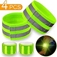 landdy 4 pcs Reflective Bands for Wrist Arm Ankle Leg. High Visibility Reflective Gear for Night Walking Cycling and Running. Safety Reflector Tape Straps. Very Large Reflective Surface Area