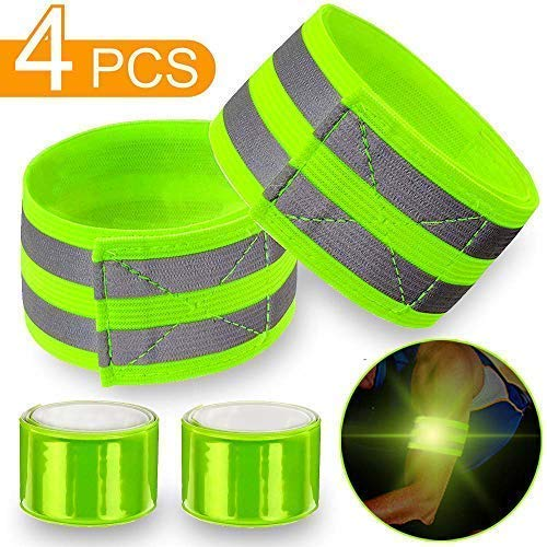 4 pcs Reflective Bands for Wrist, Arm, Ankle, Leg. High Visibility Reflective Gear for Night Walking, Cycling and Running. Safety Reflector Tape Straps. Very Large Reflective Surface Area (Slap Strap Reflective)