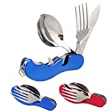 Camping Utensil Set 3 in 1 Foldable Multi-function Stainless Steel Pocket Fork Spoon Knife Kits Brilliant Eating Utensil for Hiking/Survival