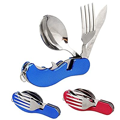 Camping Utensil Set 3 in 1 Foldable Multi-function Stainless Steel Pocket Fork Spoon Knife Kits Brilliant Eating Utensil for Hiking/Survival