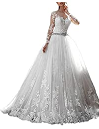 MJBridal Sheer Sleeve Lace Wedding Dresses 2018 See Through Back Puffy Bridal Gowns