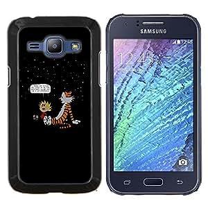 Calvin Hobbs- Metal de aluminio y de plástico duro Caja del teléfono - Negro - Samsung Galaxy J1 / J100