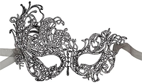 Luxury Mask Women's Stunning All Silver Lace Masquerade Mask Swan -