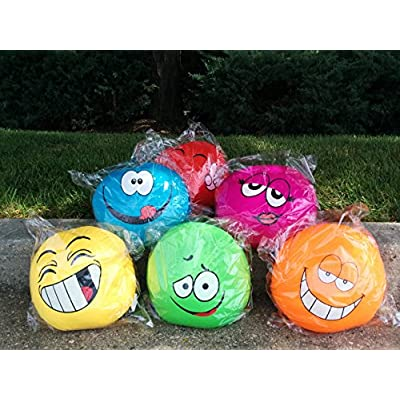 Tache Home Fashion Crazy Face Decorative Round Squishy Soft Microbead Emoji Smiley Toss Throw Pillow, 13