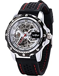 Men's Skeleton Automatic Mechanical Black Silicone Band Sport Wrist Watch PMW082