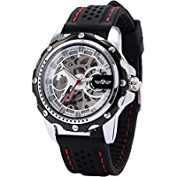 AMPM24 Men's Skeleton Automatic Mechanical Black Silicone Band Sport Wrist Watch PMW082
