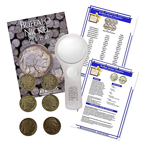 Buffalo Nickel Starter Collection Kit, H.E. Harris [2678] Buffalo Nickel Folder 1913-1938, Six Buffalo/Indian Nickels, Magnifier and Checklist, (9 Items) Great Start for Beginner Collectors by Coins4Me