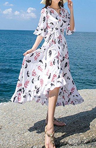 ... Sommer Lang Kleider mit Bandagen Damen Mode Bohemia Blumen Irregulär  Kleider Strandkleider Urlaub Blusenkleider Sexy V ... 0dd831aa5e