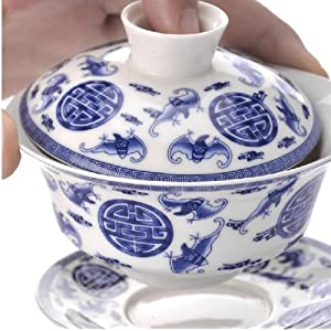 Moyishi Bat Design Chinese Gaiwan (Traditional Chinese Teaware Comprised of a Cup, Saucer and Lid) - Made in Jingdezhen