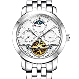 Carnival Mens tourbillon Multifunction Calendar Sapphire Silver Automatic waterproof White Watches