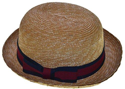 K Men's Upturn Derby Sewn & Braid Straw Hat (Large) (Sewn Braid Fedora Hat)