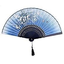 Linen Butterfly Flowers Hand Fan Lacquer Handle Japanese Folding Fan Blue