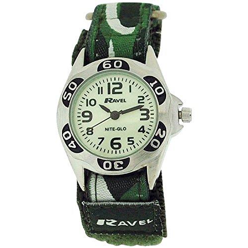 Ravel Nite-Glo Quartz Luminous Dial Army Green Velcro Boys Watch R1704.11 Dial Army Green