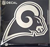Stockdale Los Angeles Rams NEW LOGO Large 12'' Silver Metallic Mirrored Style Vinyl Auto Decal University of