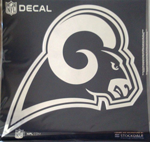 Los Angeles Rams NEW LOGO 6'' Silver Metallic Mirrored Style Vinyl Auto Decal University of by Stockdale