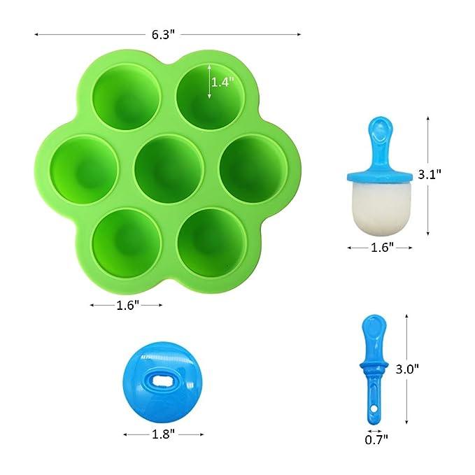 Amazon.com: Mini molde de silicona para paletas de hielo, 7 ...