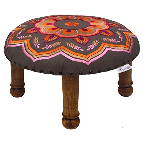 Hand-embroidered Orange Pink Floral Footstool (India)