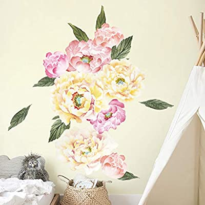 HaokHome W-10705 Peony Flowers Wall Decal Flower Wall Sticker Floral for Girls Bedroom Living Room Nursery Decor