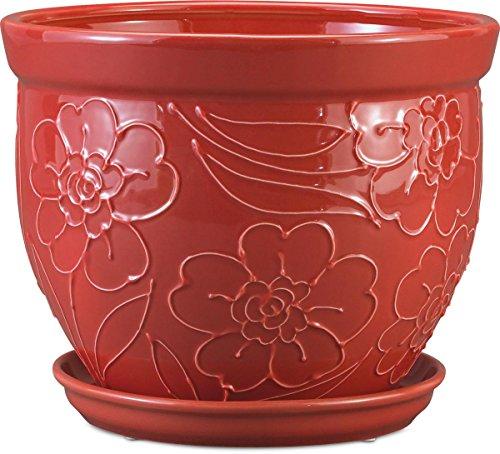 New Ceramic Planter (Pennington Décor New England Pottery Zinnia Bell Planter, 10.75