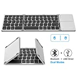 Foldable Bluetooth Keyboard, Jelly Comb Dual Mode Bluetooth & USB Wired Rechargable Portable