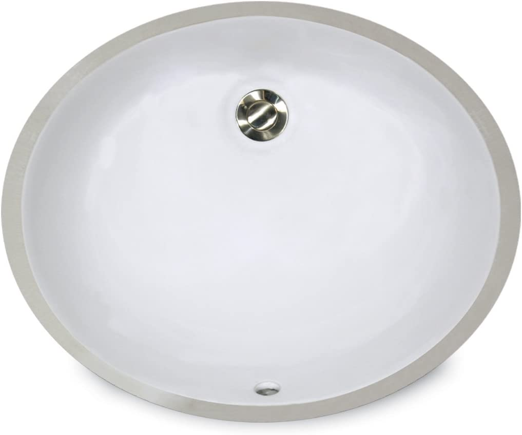 Nantucket Sinks UM-15×12-W 15-Inch by 12-Inch Oval Ceramic Undermount Vanity Sink, White
