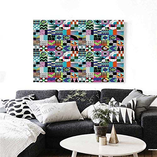 Warm Family Mid Century Canvas Wall Art Mix of Various Different Geometric Shapes in Squares Funky Sixties Revival Artwork for Wall Decor 20