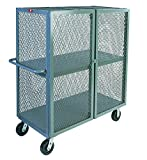 Jamco Products Inc VB448-P6-GP Mesh Security Truck 36 x 48 Two Shelves, with 6 inch x 2 inch Phenolic Casters, Two Rigid, Two Swivel, Powder Coated Gray,