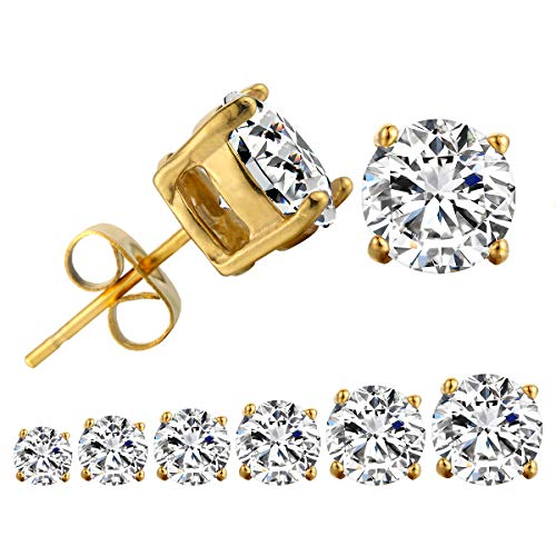 Kaiyu Round Cut Cubic Zirconia Stud Earrings Stainless Steel Yellow Gold Plated Earrings Set 6 Pairs 3mm-8mm (Gold) ()