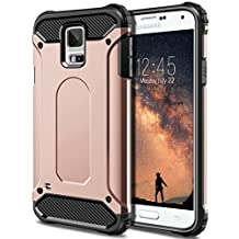 Galaxy S5 Case, Vofolen® Exact Fit Galaxy S5 Case Armor Defender Dual Layer Protective Hard Shell Anti-shock Galaxy S5 Case Impact Resistant Tough Bumper Cover for Samsung Galaxy S5 -Rose Gold