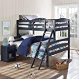 Dorel Living Brady Twin over Full Bunk Bed, Multiple Colors (Graphite Blue)