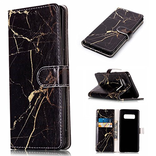 Price comparison product image Note 8 Case,Galaxy Note 8 Case,DAMONDY Luxury Marble Stand Wallet Purse Card ID Holders Design Flip Cover TPU Soft Bumper PU Leather Magnetic Case for Samsung Galaxy Note 8 2017 -black gold