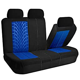 FH GROUP FH-FB071115-SEAT Travel Master Seat Covers Airbag Ready & Rear Split Blue/Black