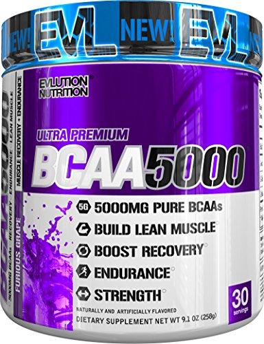 Evlution Nutrition BCAA5000 Powder 5 Grams of Premium BCAAs (Furious Grape, 30 Servings) by Evlution