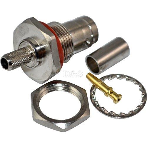 - BNC female jack nut bulkhead crimp RG58 RFC195 RG400 RF Coax Adapter connector