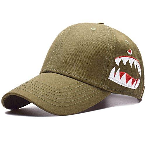 Kokkn BTS Baseball Cap K-pop Bangtan Boys Outdoor Iron Ring Snapback Hat Casual Adjustable Dad Hat Hip Hop Hat (Shark - Army Green) (Baseball Slides)