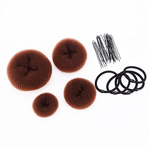 (SWACC Hot Hair Donut Bun Maker Set Updo Scrunchie Chignon Hairpiece Ballerina Bun Maker, 4 Sizes + Hair Ties + Bobby Pins in Set (Brown))