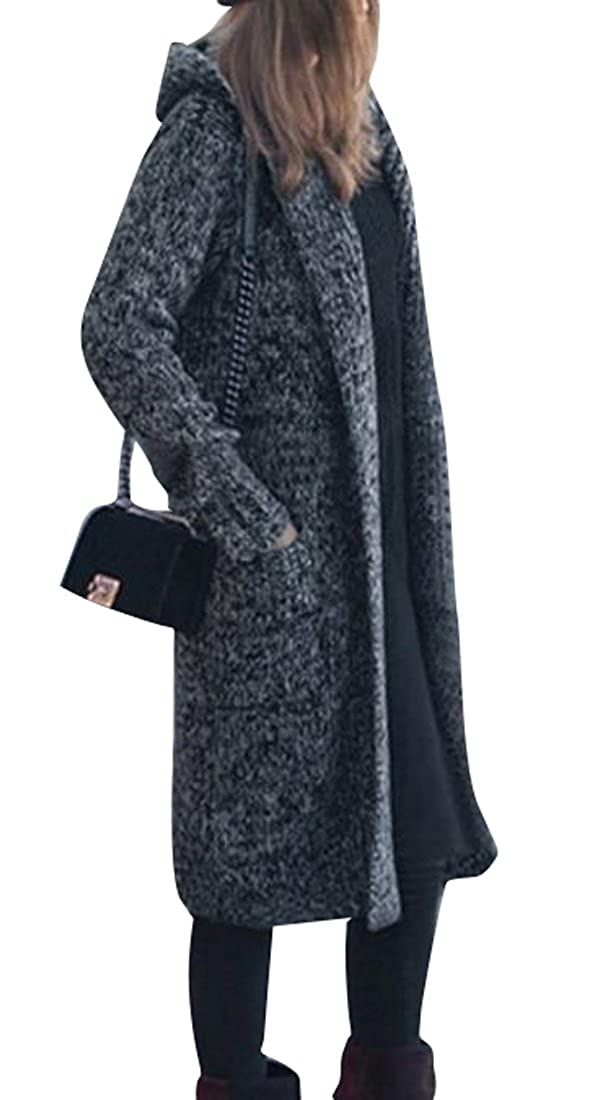 OTW-Women Winter Warm Long Hooded Knitted Cardigan Sweater Coat