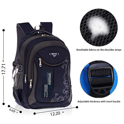 Backpack for School Kids, Casual Outdoor School backpack for Boys and Girls, Lightweight Spine Protection Bookbag OuTrade (Navy Blue)