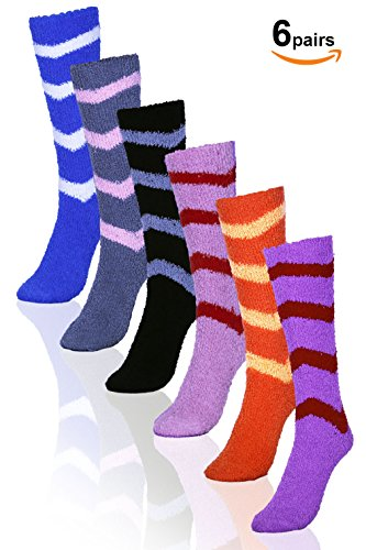 Basico Soft Warm Microfiber Fuzzy Winter Socks- Hospital Socks - Knee High 6pairs(1pack) 6 Style (Stripe) - Hospital Style Stockings