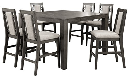 HOMES: Inside + Out Verona Modern Style 7 Piece Counter Height Dining Set, Weathered Gray