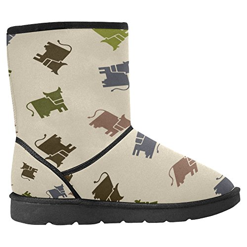 Stivali Da Neve Womens Interestprint Design Unico Comfort Invernale Stivali Mucca Illustrazione Vettoriale Multi 1