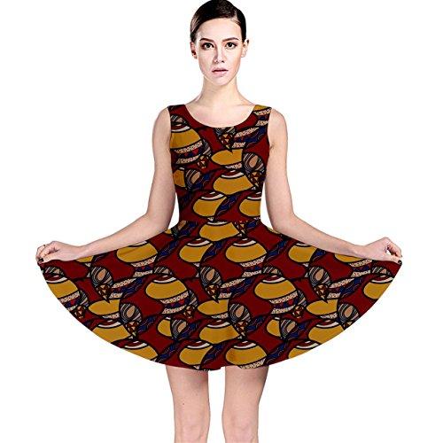 Cowcow Femmes Brun Motif Coloré Ethnique Africain Robe Patineuse