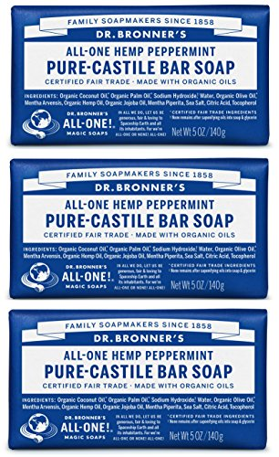 (Dr. Bronner's Pure-Castile Bar Soap - Peppermint 5oz. (Pack of 3))
