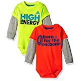 adidas Baby Boys' Single and 2 Pack Bodysuits, Yellow/Orange, 12 Months