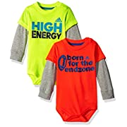 adidas Baby Boys' Single and 2 Pack Bodysuits, Yellow/Orange, 6 Months